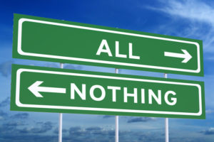 All or Nothing concept on the road signpost, 3D rendering